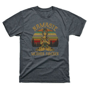 Funny-Yoga-Namaste-Mother-Fvcker-Vintage-Pattern-Men-039-s-Cotton-T-Shirt-Tee