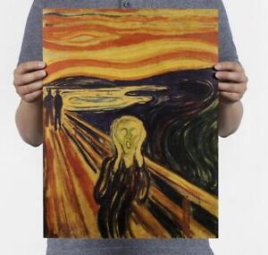 Bar-decoratio-Munch-Scream-Nostalgic-Retro-Oil-Painting-Kraft-Paper-Poster