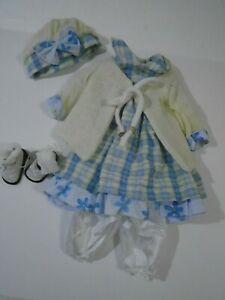 Complete-Old-Fashion-Vintage-Style-Costume-for-20-034-Doll-Dress-Sweater-Shoes-Hat