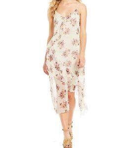 1-State-Dress-Womens-Soft-Ecru-Sheer-Overlay-Floral-Slip-Dress-Size-Small
