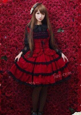 Ladies Red Tiered Layered Sleeveless Lolita Cosplay Gothic Punk Dress Skirt