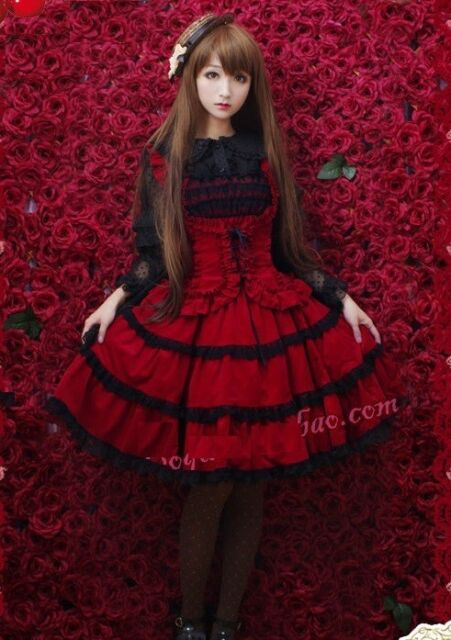 J630 red tiered layered Lolita dress cosplay sleevesless gothic goth halloween