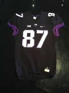Game Worn Used Nike TCU Horned Frogs Football Jersey  87 Size L  b2a63245d