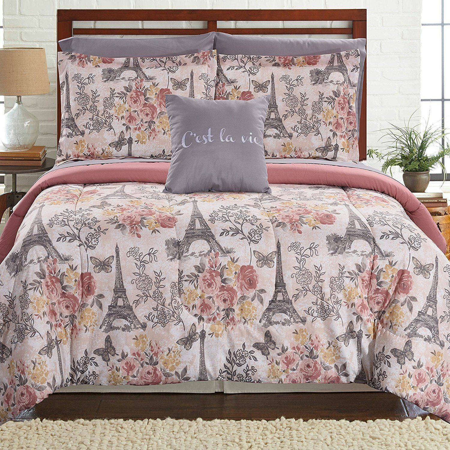 Luxurious Blaush grau Floral Paris 8 pcs Reversible King Queen Comforter Set
