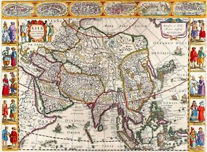 1632 asia world map antique vintage reproduction old style poster image is loading 1632 asia world map antique vintage reproduction old gumiabroncs Gallery