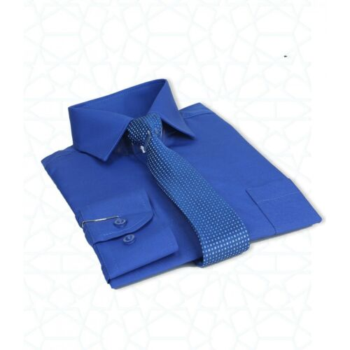 Boys Formal Royal Blue Shirt And Tie Set Kids Wedding Prom Device Suit Shirts