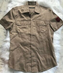 95797c69 Image is loading Authentic-GUCCI-Khaki-Military-Short-Sleeve-Button-Down-