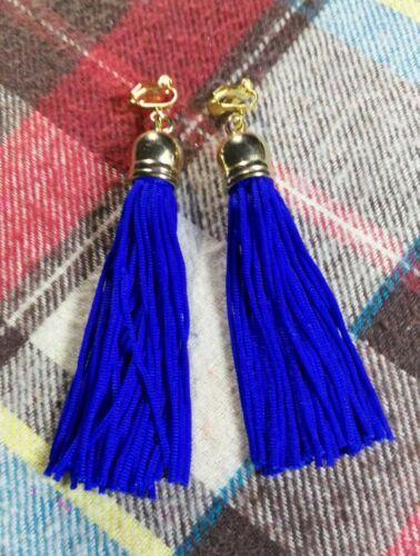 Hecho a mano boho Blue Tassel Pendientes clip largo borla pendientes