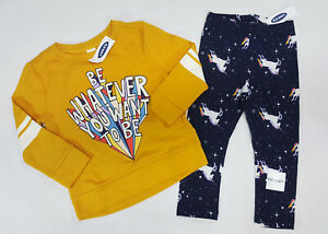 NWT-Old-Navy-Girls-12-18-Months-3t-or-4t-Yellow-Top-Unicorn-Rainbow-Leggings