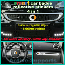 Reflective smart front & steering wheel Badge Sticker Set Brabus