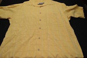 Talbots-Mens-XL-Yellow-White-Gray-Grid-Short-Sleeve-Men-039-s-Shirt