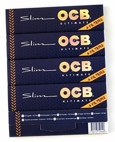 FILTER TIPS 5 booklets OCB VIRGIN SLIM Unbleached Rolling paper King Size