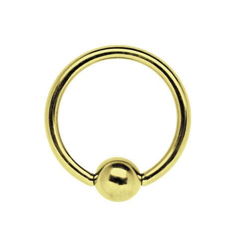 Intim Ohr Piercing Schmuck Klemm Ring BCR 1,2mm mit Kugel vergoldet Größe 6-12mm