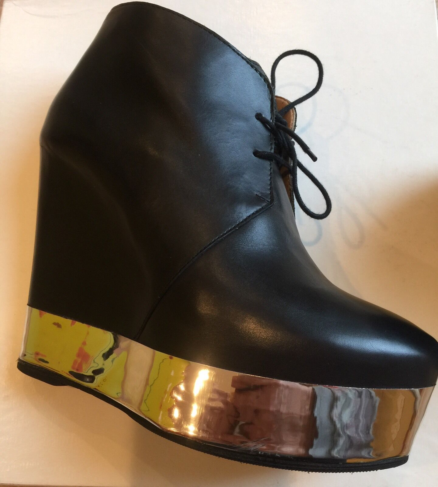 Acne Atacoma Black Metal Wedge Boots  , Pre Owned , Great Condition,US 10, Italy