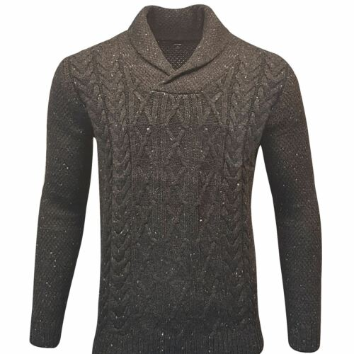 Mens Fisherman Cable Knit Weave Jumper Funnel Sweater Pullover Wool Mix Cardigan