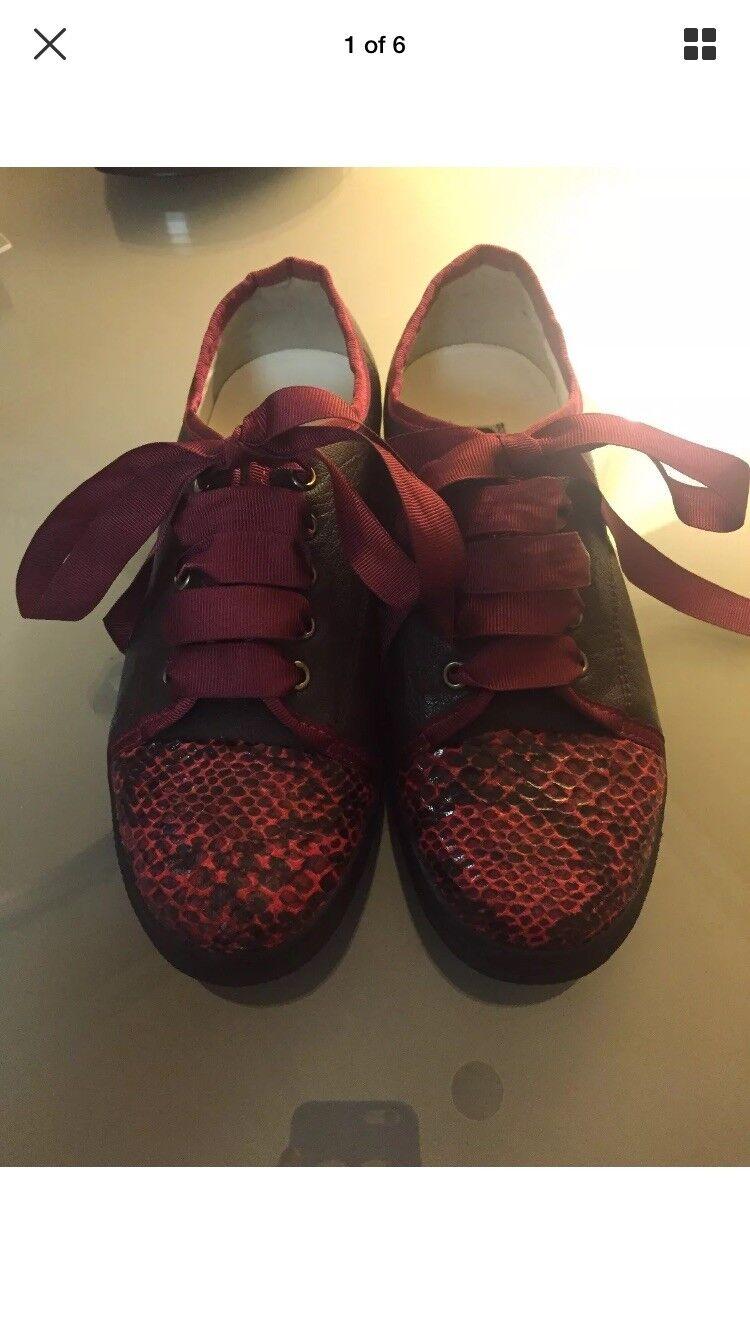 Lanvin Braun Leder Snakeskin Python Cap Toe  Sneakers Schuhes Größe 7