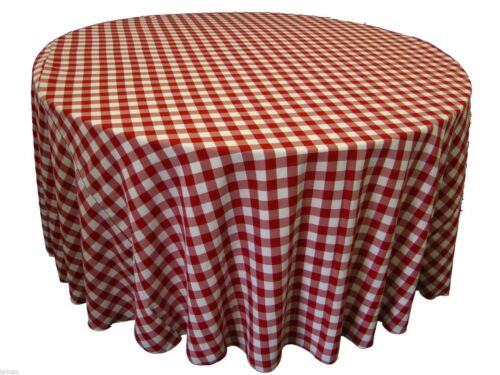 5 rond 120 in environ 304.80 cm Checkered nappes Buffalo Vichy polyester made in USA