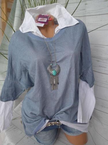 Joe Browns Bluse Shirt Gr NEU 070 34//36-42//44 Blau 2 teilig 2 in 1 Effekt