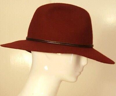 Vintage, Burgundy, Wool, Bolero Hat (57 cm / 7-1/8)