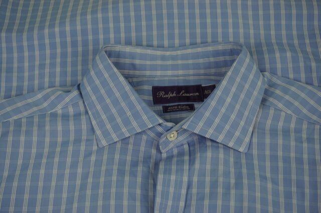Ralph Lauren Purple Label RLPL Blue White Plaid Spread Collar Dress Shirt 16.5