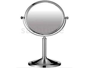 Chrome swivel shaving vanity magnifying free standing bathroom 2 sided mirror ebay for Magnifying bathroom mirror on stand