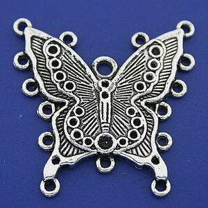 4pcs Dark Silver Tone Butterfly Connector Charms h3337