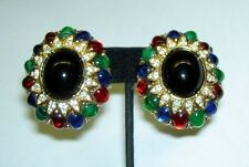 CINER Jewels of India Color Gripoix Cabochon Rhinestone Goldtone Clip Earrings
