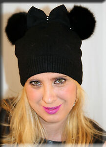 New Black Knit Beanie with Bow Tie and Double Black Fox Fur Pom Poms ... 364503a8a10