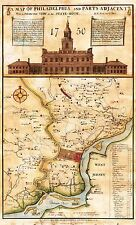 MAP ANTIQUE 1752 SCULL HEAP PHILADELPHIA STATE HOUSE REPRO POSTER PRINT PAM1640