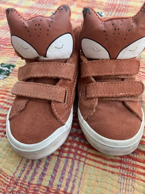 Zara Baby Brown Leather High Top Sneakers Fox Shoes Sz 24 ...