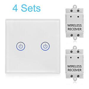 4-Satz-2-Weg-Weiss-Funk-Lichtschalter-Empfaenger-Set-Touch-Sensor-Wandschalter