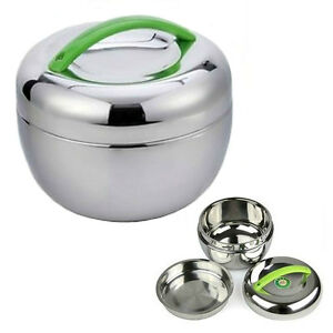 Details about STAINLESS STEEL INSULATED LUNCH BOX 1 liter 30 oz Bento  Tiffin Stacking Travel