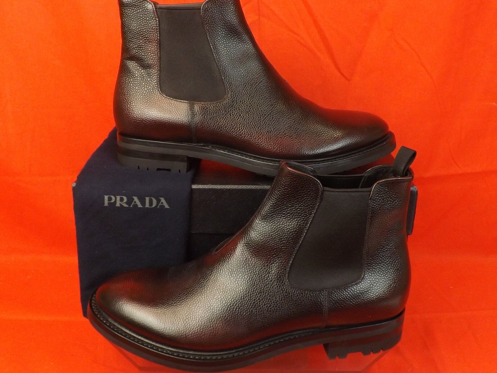 NIB PRADA BURGUNDY BURNISHED TEXTUrosso CHELSEA LEATHER ELASTICIZED stivali 9.5 10.5