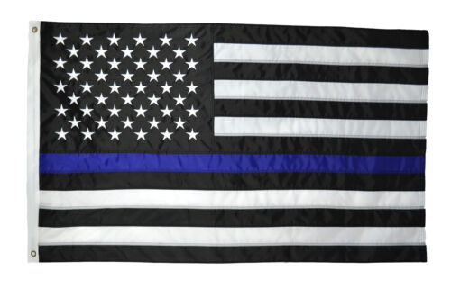 Thin Blue Line Police Flag US American Flag Embroidered Stars Sewn Stripes