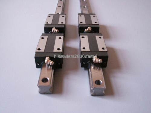 CNC Set 20-400mm 2x Linear Guideway Rail 4x Square type carriage bearing block