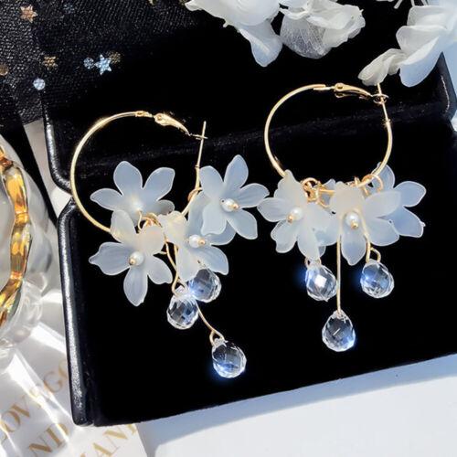Crystal Tassel Acrylic Flower Dangle Earrings Women Fashion Jewelry Accessories