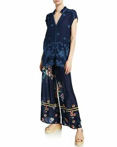 JOHNNY-WAS-TRISA-EMBROIDERED-BLOUSE-TUNIC-TOP-BLUE-NIGHT-CAP-SLEEVE-Sz-M
