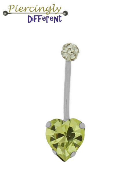 9ct White Solid Gold Yellow Heart shaped Austrian Crystal Belly Bar