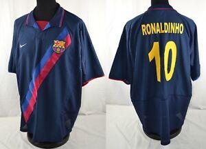 f82cd8072 Image is loading RONALDINHO-10-Barcelona-Nike-Away-Football-Shirt-Jersey-