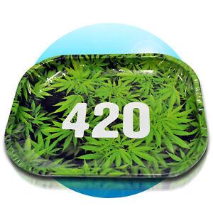Drehunterlage-Rolling-Tray-Schaber-Magnet-Tabak-Dreh-Tablett-Drehen-420-green
