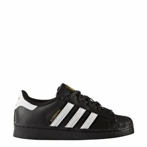 9f6b8497bbd Image is loading Adidas-BA8379-Superstar-Black-White-Leather-Preschool-KIDS-