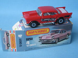 Lesney Matchbox Superfast 4 1957 Chevy Black Base Boxed
