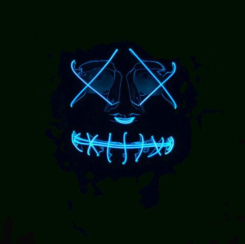 Adult Neon Light Up MASK LED EL Wire Purge Film Halloween Festival Fancy Dress