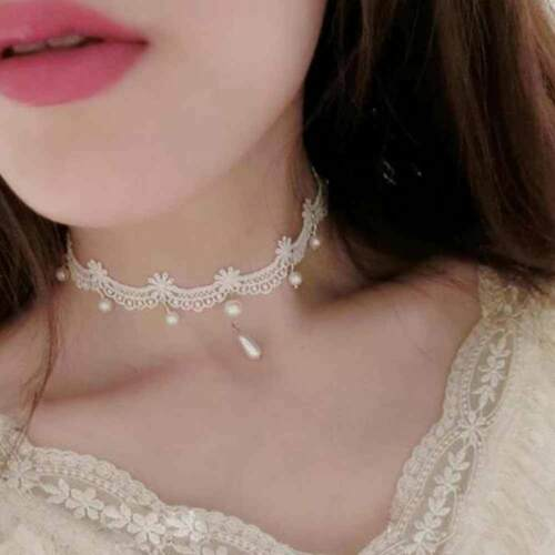 2019 Hot Gothic Imitated Pearl Bead White Lace Flower Choker Necklace for Women
