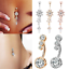 Navel-Belly-Button-Rings-Bar-Crystal-Flower-Dangle-Body-Piercing-Jewelry-Beauty thumbnail 2