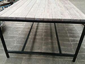 Tavolo Stile Industriale : Tavolo in ferro e legno massello 250x100 in stile industriale