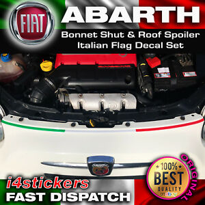 Fiat-Abarth-500-Capot-Ferme-amp-Toit-Spoiler-Drapeau-Italien-Decal-Set-500-C-595-C