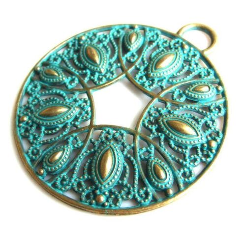 "2.5/""-large round pendant-Patina brass tone filigree Peacock feather pendant"