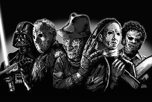 Freddy Krueger Jason Voorhees Michael Myers Leatherface ... Leatherface Vs Jason Poster