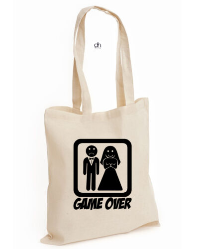 GAMEOVER, BAG Game Over Funny Wedding Stag Hen Night Bride COTTON TOTE UNISEX